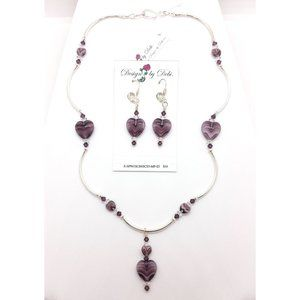 Purple Hearts & Crystals Necklace & Earrings